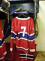 HHOF July 2010 Canadiens locker 01 (Morenz).JPG
