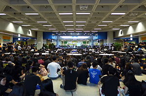 Student activism - City University of Hong Kong students staging a sit-in during 2014 Hong Kong protests over blocking of electoral reforms