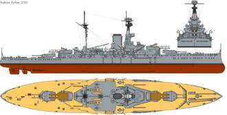 HMS Resolution (09) - Image: HMS Revenge (1916) profile drawing