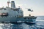 HSC-14 MH-60S Sea Hawk helihoisting cargo from USNS Tippecanoe (T-AO-199) during replenishment-at-sea with USS John C. Stennis (CVN-74) 160506-N-SF251-005.jpg