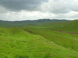 Hadrian's Wall - Vallum at Hadrian's Wall near Milecastle 42 (Cawfields)