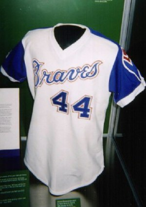 "Ivan Allen Jr. Braves Museum and Hall of Fame - The jersey Hank Aaron wore when he broke Babe Ruth's home run record on display in the museum's ""Atlanta"" exhibit"