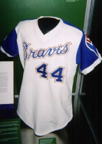 Hank Aaron - The Braves' jersey Hank Aaron wore when he broke Babe Ruth's career home run record in 1974