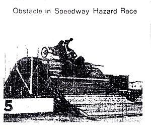 Ernest Moross - An obstacle course complete with wooden ramps and a path that traversed the Indianapolis Motor Speedway's landmark creek ditch in the southwest corner of the track was a featured event at the May 1910 race meet at the Brickyard.