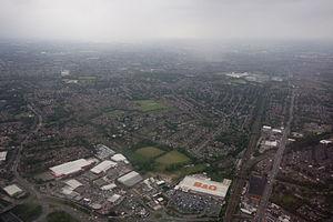 Heaton Moor - Image: Heaton moor aerial shot