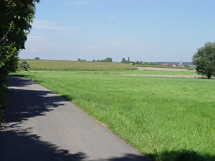 Am Feldweg in Messkirch. Heidegger often went for a walk on the path in this field. See the text Der Feldweg GA Nr. 13 Heideggers Feldweg.JPG
