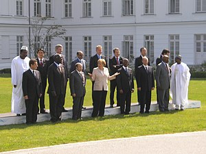Meles Zenawi - At the 33rd G8 summit in Heiligendamm in 2007 (Meles at elevated row fourth from left)