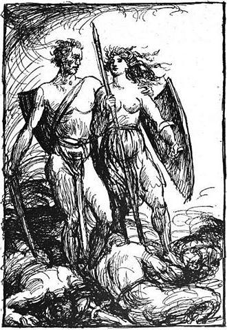 Valkyrie - Helgi Hundingsbane and Sigrún (1919) by Robert Engels