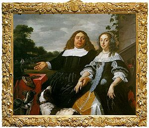 Jan Jacobszoon Hinlopen -  Jan J. Hinlopen in 1666, with his new wife Lucia Wijbrants. Painting by Bartholomeus van der Helst, now in a private collection