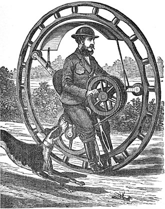 "Monowheel - Hemming's Unicycle, or ""Flying Yankee Velocipede"", was a hand powered monowheel patented in 1869 by Richard C. Hemming."