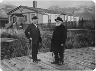 National Register of Historic Places listings in Prince of Wales–Hyder Census Area, Alaska - Image: Henry S. Wellcome and William Duncan in front of Duncan's residence, Metlakahtla, Alaska. Probably during Wellcome's... NARA 297900