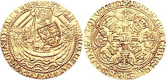 Henry V of England - A gold noble coin of Henry V