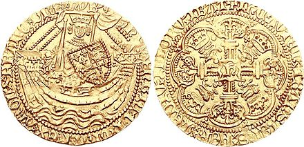 A gold noble coin of Henry V Henry V noble 1413 74001322.jpg