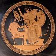 Hephaistos Thetis at Kylix by the Foundry Painter Antikensammlung Berlin F2294