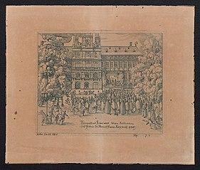 Het voorlezen en viering van het Twaalfjarig Bestand voor het Stadhuis van Antwerpen op 14 april 1609