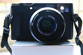 Konica Hexar RF - Hexar RF with 35mm lens, showing viewfinder (on right) and second window for split image rangefinder