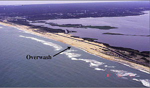 Hurricane Dennis (1999) - The storm surge from Dennis damaged a section of Highway 12 in North Carolina.