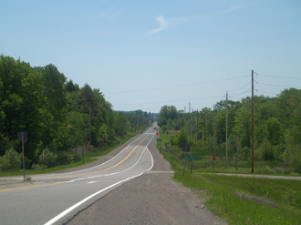 Ontario Highway 7A - Highway 7A facing west from its eastern terminus at Highway 115