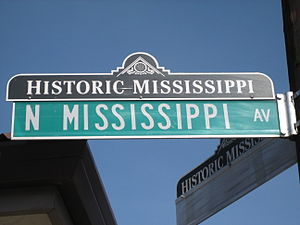 Boise, Portland, Oregon - Historic Mississippi business district street sign topper in the Boise Neighborhood