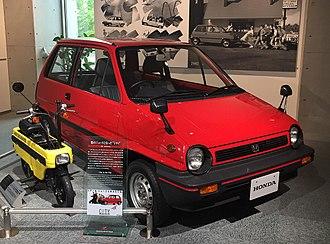 Honda City - Honda City and Motocompo display at Honda Collection Hall in Motegi