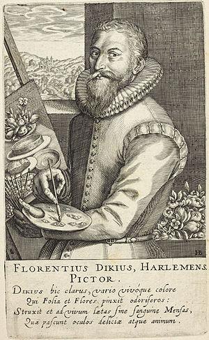 "Floris van Dyck - Portrait of ""Florentius Dikius Harlemens"", by Hendrik Hondius I for his Pictorum, 1610"