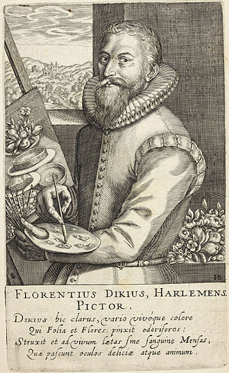 "Floris van Dyck - Portrait of ""Florentius Dikius Harlemens"", by Hendrik Hondius I for his Pictorum, 1610"