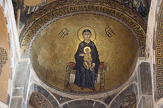 Hosios Loukas - Virgin with child mosaic
