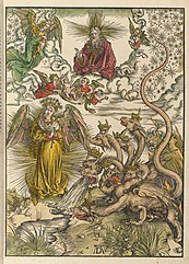 The woman of the Apocalypse and the seven-headed dragon