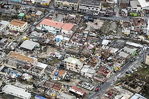 Sint Maarten - Damaged buildings in the wake of Hurricane Irma