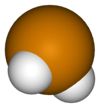 Spac-satiga modelo de la hidrogena teluridmolekulo