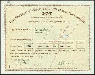 International Computers and Tabulators - Share of the ICT Ltd., issued 15. May 1961