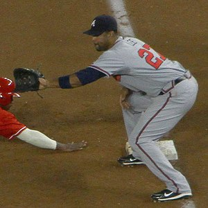 Derrek Lee - Lee playing for the Braves.