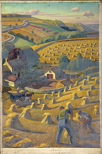"United Kingdom home front during World War II - 'Harvesting' by Adrian Allinson promoted English agriculture and the ""Dig for Victory"" campaign."