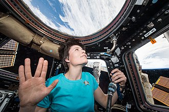 Trekkie - Astronaut Samantha Cristoforetti performs the Vulcan salute in homage to Leonard Nimoy