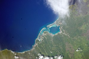 Asau, Savai'i north west coast, NASA photo at an altitude of 192 nautical miles (356 km)