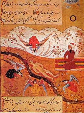 Another painting of angels prostrating before Adam with Iblis refusing, here depicted with a headcover Iblis with turban.jpg