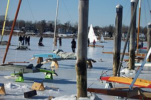 Red Bank, New Jersey - Whenever the conditions are right, ice boats appear on the Navesink.
