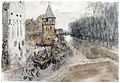 In the Winter of 1944, Gross drove to Brussels to join up with the 50th (Northumbrian) Division. He produced a series of drawings there entitled, 'Gateways to Germany', depicting ruined towns and flooded countryside. Art.IWMARTLD4819.jpg