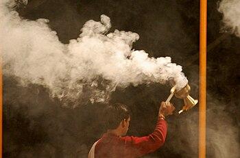 Incense smoke Aarti, Ganges, Varanasi.