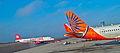 Indian Airlines flight in Hyderabad Airport.JPG