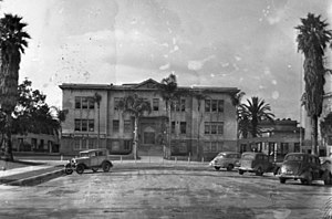 Inglewood High School (California) - Administration Building at foot of Nutwood Avenue, 1947