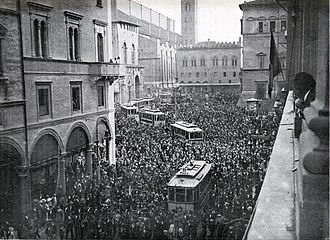 Italian Front (World War I) - A pro-war demonstration in Bologna, 1914.
