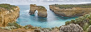 Geology of Victoria - Island Archway on the Great Ocean Road in Victoria, Australia. Taken as a 6 segment panorama showing the surrounding coastline.
