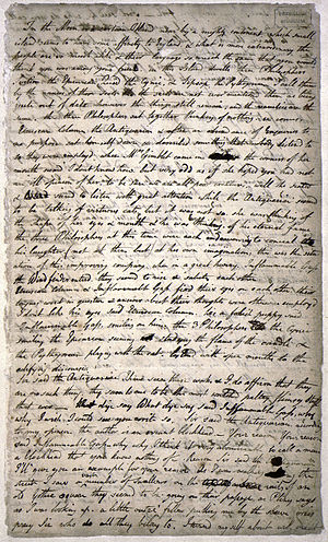 An Island in the Moon - Page 1 of the only known manuscript of An Island in the Moon