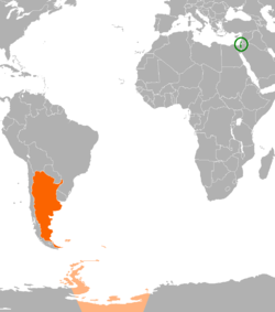 Map indicating locations of Israel and Argentina
