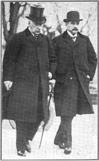 J. P. Morgan Jr. - Jack Morgan walking alongside his father J. P. Morgan in the last known photograph of the two together (ca. 1913)