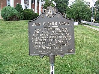 James John Floyd - Historical marker for John Floyd's grave site