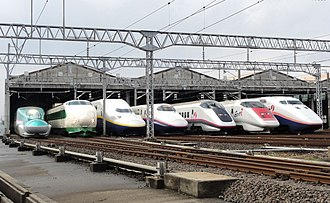 Shinkansen - A lineup of JR East Shinkansen trains in October 2012