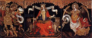 Justice enthroned between the Archangels Michael and Gabriel