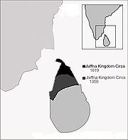 Map of the Jaffna kingdom circa 1619